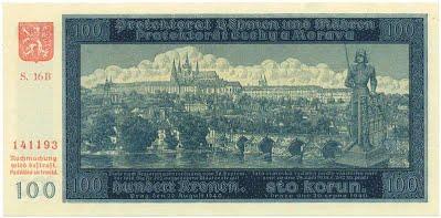 100-Kronen-Schein während der deutschen Besatzung. Quelle: http://www.papirovaplatidla.cz