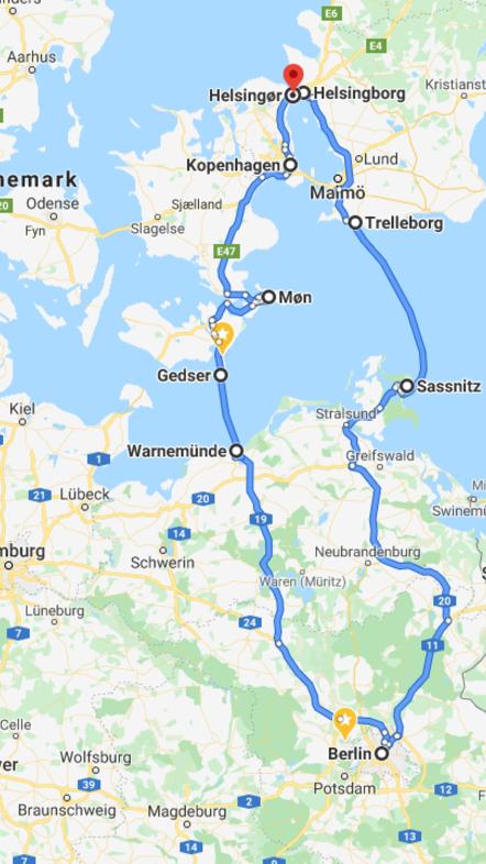 Unsere Rundfahrt Berlin - Warnemünde - Gedser - Mön - Kopenhagen - Helsingör - Helsingborg - Trelleborg - Saßnitz (Rügen) - Stralsund - Greifswald - Berlin (Map by Google)
